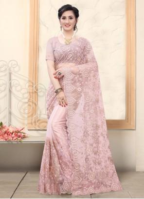 Resham Mauve  Net Classic Designer Saree