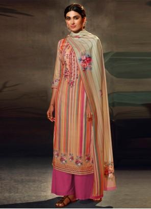 Resham Multi Colour Pashmina Designer Palazzo Suit