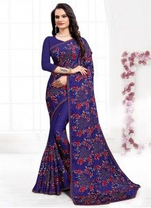 Resham Navy Blue Designer Bollywood Saree