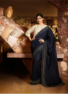 Resham Navy Blue Silk Designer Traditional Saree