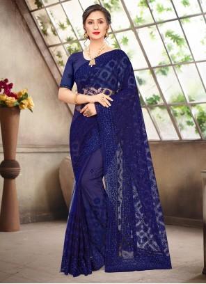 Resham Net Blue Traditional Saree