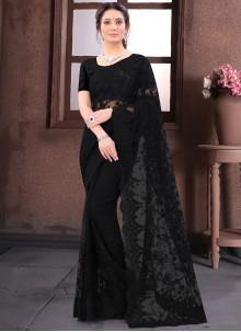 Resham Net Black Bollywood Saree