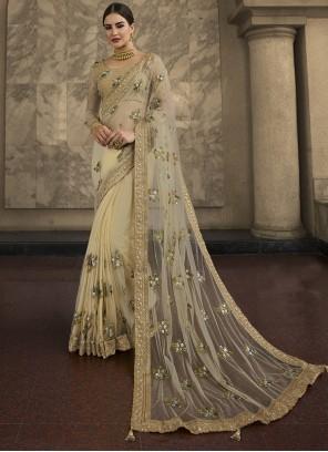 Resham Net Classic Designer Saree in Cream