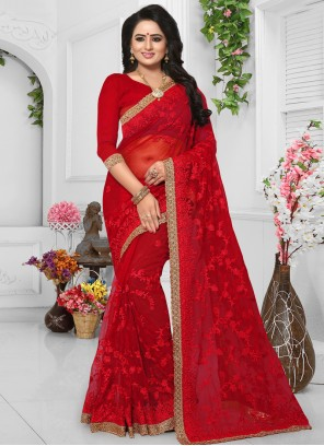 Red Resham Net Classic Saree