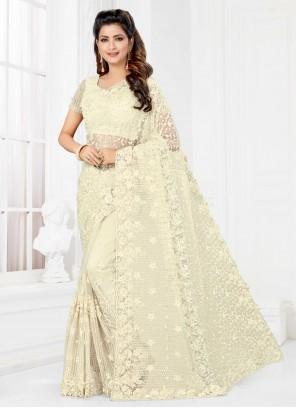 Resham Net Classic Saree in Off White