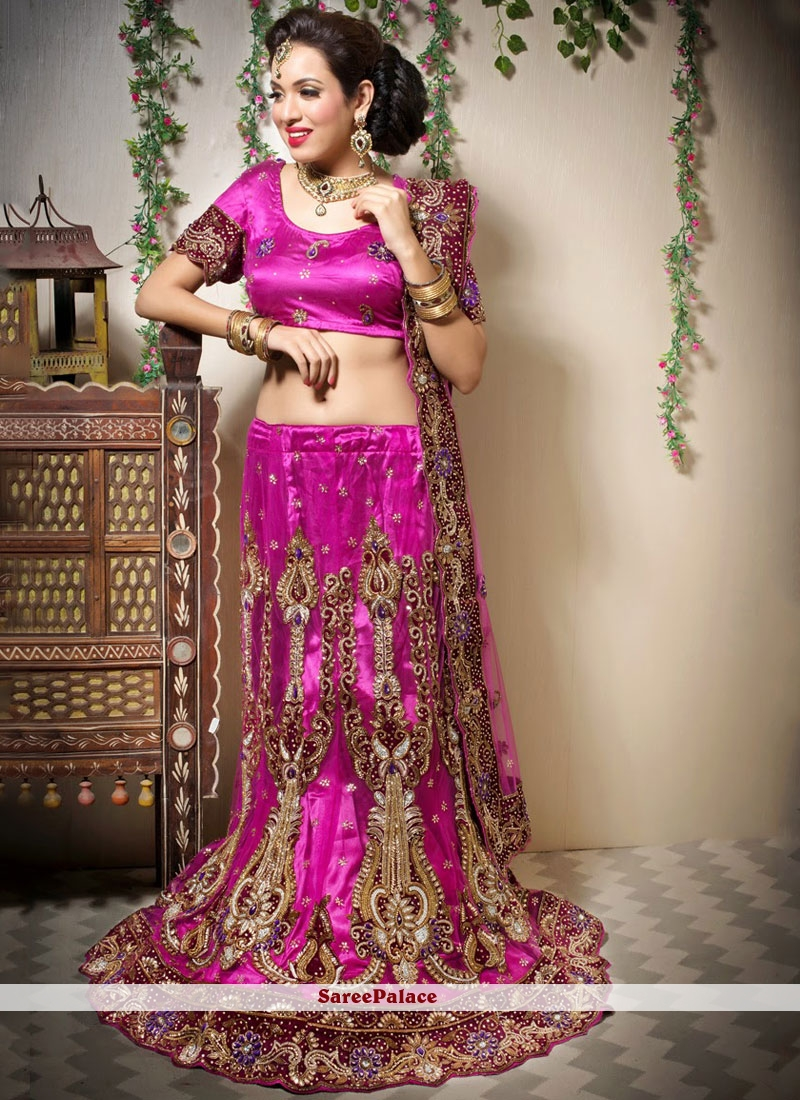 9f8347364f Buy Resham Net Designer Lehenga Choli in Magenta Online