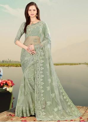 Green Embroidered Resham Net Designer Saree