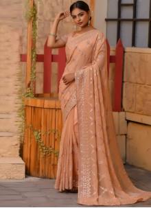 Resham Net Designer Saree in Beige