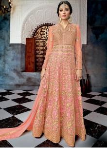 Resham Net Floor Length Anarkali Suit in Pink