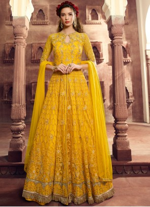 Resham Net Floor Length Anarkali Suit in Yellow