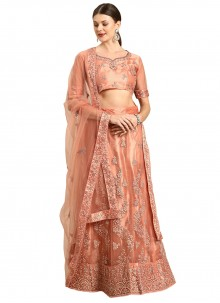 Resham Net Lehenga Choli in Peach
