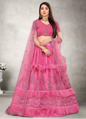 Resham Net Lehenga Choli in Pink