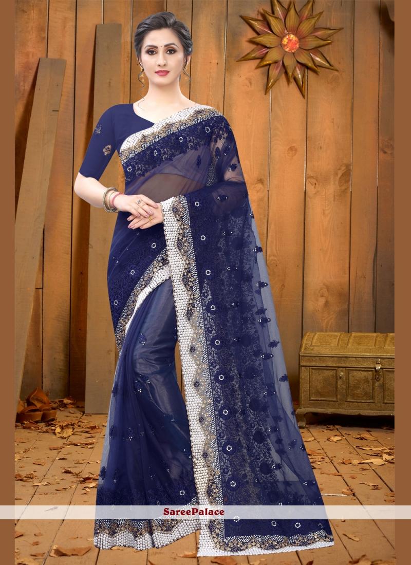 Resham Net Navy Blue Contemporary Saree