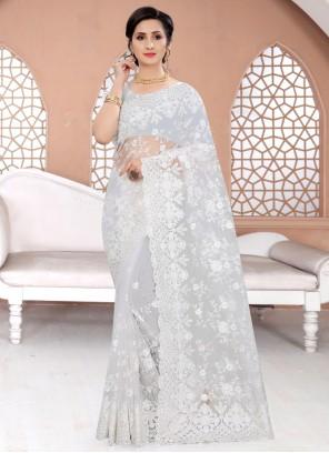 Resham Net Off White Classic Designer Saree