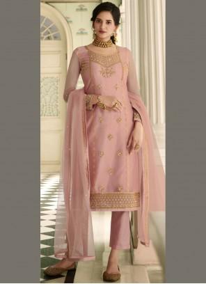 Resham Net Pink Pant Style Suit
