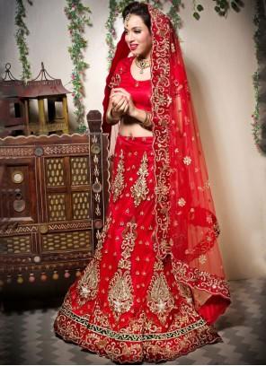 Resham Net Red Designer Lehenga Choli