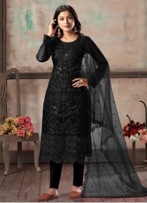 Resham Net Salwar Suit in Black