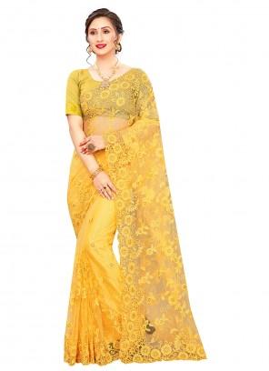 Resham Net Trendy Saree in Yellow