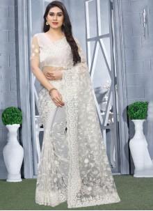 Resham Net White Classic Saree