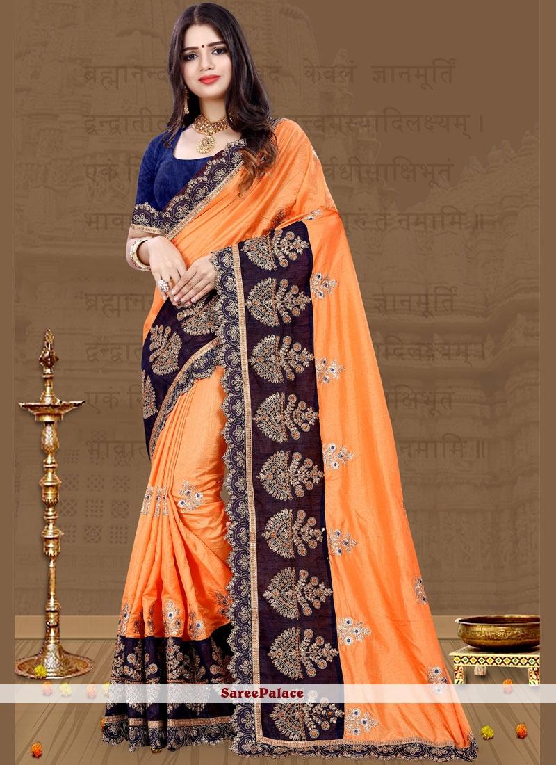 Resham Orange Art Silk Traditional Designer Saree