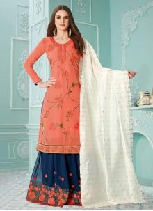 Resham Orange Faux Georgette Designer Palazzo Salwar Kameez