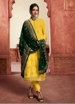 Resham Yellow Pant Style Suit