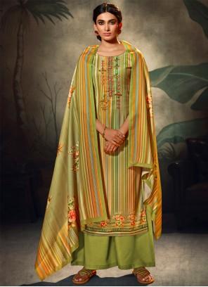 Resham Pashmina Trendy Green Salwar Suit
