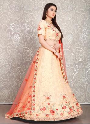 Resham Peach Designer Lehenga Choli
