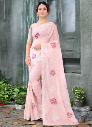 Resham Peach Organza Classic Designer Saree