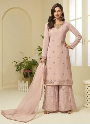 Resham Pink Designer Palazzo Suit