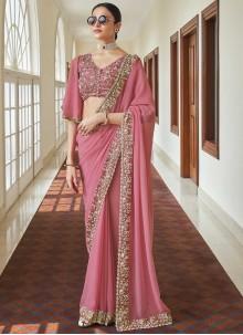 Resham Pink Faux Georgette Classic Designer Saree