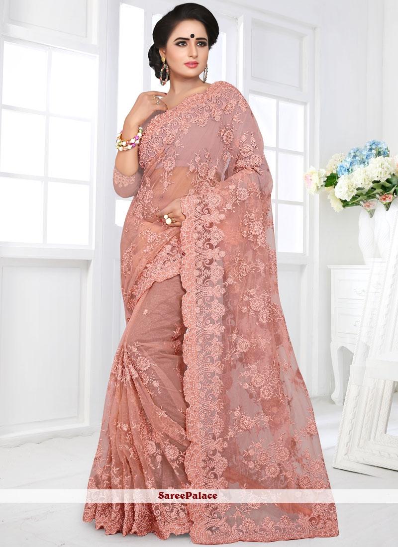 Resham Pink Net Saree