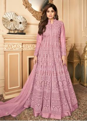 Resham Pink Shamita Shetty Designer Floor Length Salwar Suit
