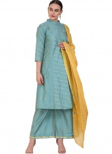 Resham Poly Silk Designer Salwar Suit in Blue