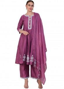 Resham Poly Silk Purple Designer Suit