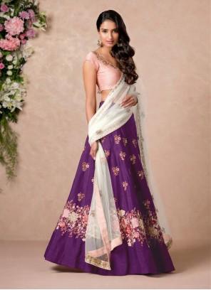 Resham Purple Art Silk A Line Lehenga Choli