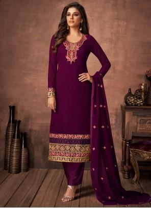 Resham Purple Faux Georgette Pant Style Suit