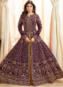 Resham Purple Shamita Shetty Long Choli Lehenga