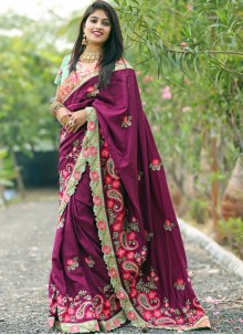 Resham Purple Silk Traditional Designer Saree