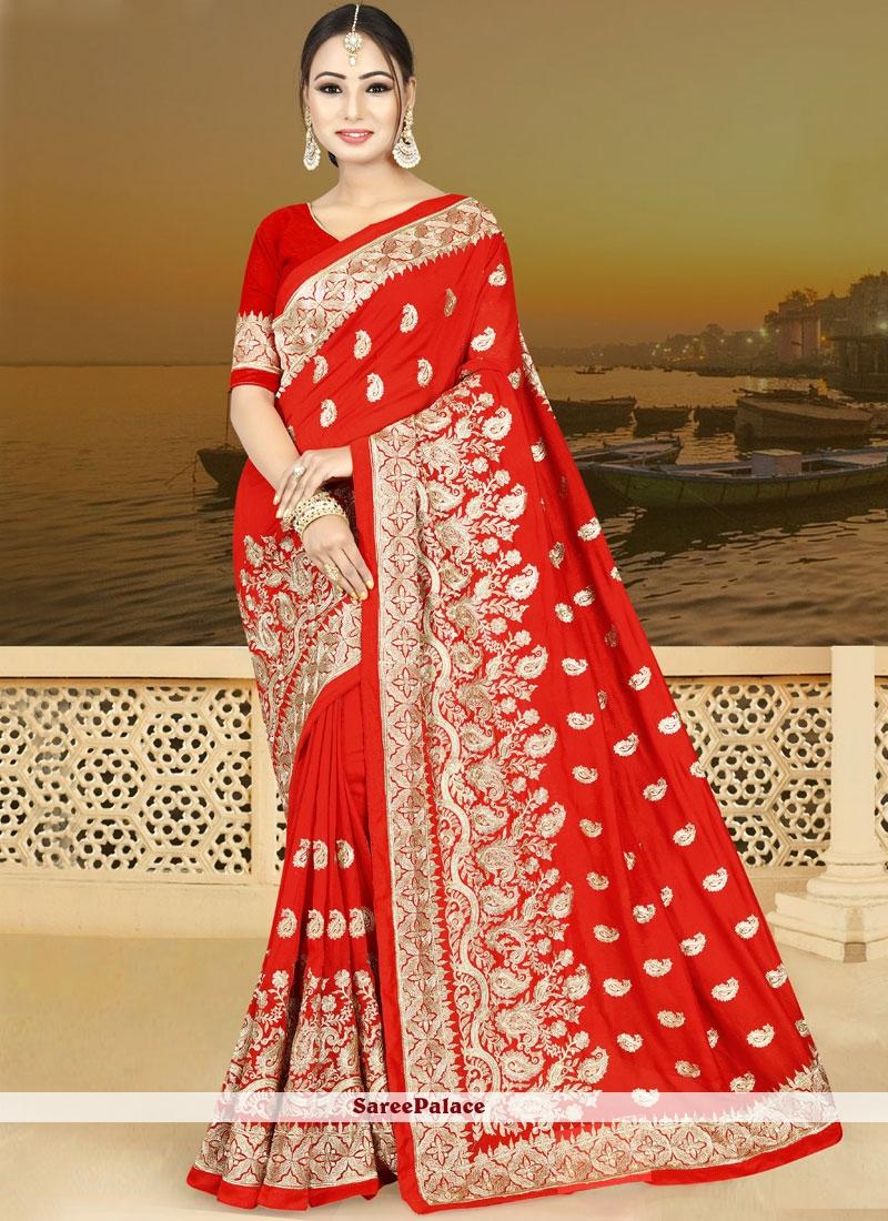 Resham Red Art Silk Traditional  Saree