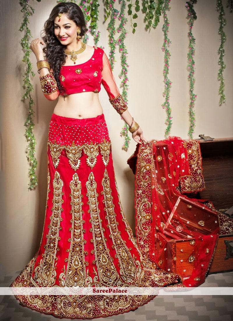 Resham Red Designer Lehenga Choli