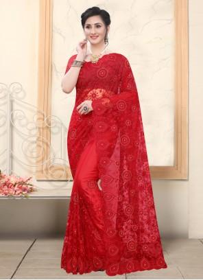 Resham Red Designer Saree