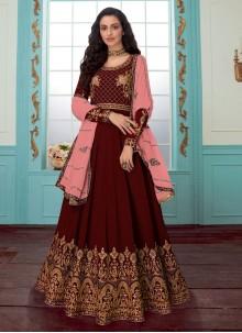 Resham Red Faux Georgette Anarkali Salwar Suit
