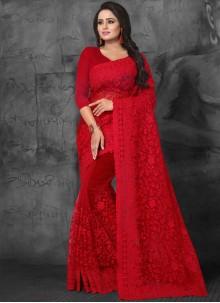 Resham Red Net Designer Saree