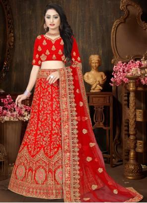 Resham Red Satin Designer Lehenga Choli