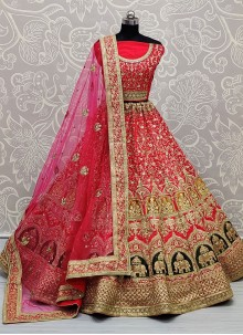 Pink Resham Sangeet Lehenga Choli