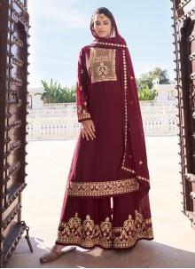 Resham Sangeet Readymade Maroon Suit