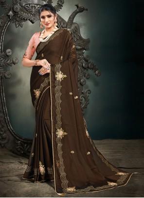 Brown Resham Satin Designer Saree