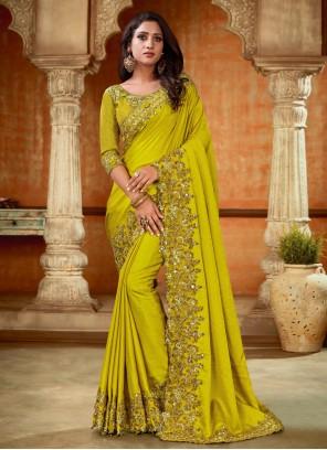 Resham Satin Designer Saree in Green