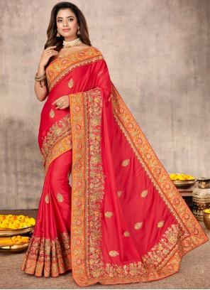 Resham Satin Designer Saree in Pink